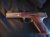Colt Woodsman Match Target,1972,fully refinished in bright mirror nickel,22LR,heavy barrel,custom wood grips,adj site,awesome 1 of a kind showpiece !! - 1 of 15