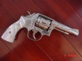 Smith & Wesson 10-6,fully engraved & refinished in bright nickel,by Flannery Engraving,4