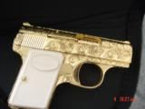Browning Baby 25 auto,fully engraved & 24K Gold plated by Flannery,made 1967,awesome tiny work of art !!