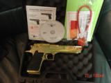 "Magnum Research Desert Eagle 50AE,in the rare bright Titanium gold,6"", a real showpiece hand cannon,never fired,in case with all papers & DVD,MK"