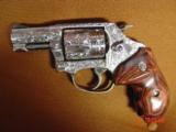 """Smith & Wesson 60-14,357mag,2.125"""", fully deep hand engraved & polished,by Flannery Engraving,Rosewood grips,never fired,box & papers,certificate - 13 of 15"""