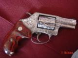 """Smith & Wesson 60-14,357mag,2.125"""", fully deep hand engraved & polished,by Flannery Engraving,Rosewood grips,never fired,box & papers,certificate - 5 of 15"""