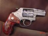 """Smith & Wesson 60-14,357mag,2.125"""", fully deep hand engraved & polished,by Flannery Engraving,Rosewood grips,never fired,box & papers,certificate - 14 of 15"""