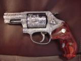 """Smith & Wesson 60-14,357mag,2.125"""", fully deep hand engraved & polished,by Flannery Engraving,Rosewood grips,never fired,box & papers,certificate - 15 of 15"""