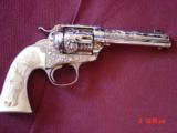 """Colt Bisley made in 1910,32 WCF,4 3/4"""",engraved & nickel refinished by Dwayne Woody,real carved ivory with horse head & ruby-1 of a kind !!"""