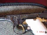 "Colt Woodsman - 22LR, rare 4"" barrel, master engraved by Jim Sornberger,24K accents & 24k gold wire inlays,a masterpiece !! - 3 of 15"