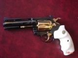 """Colt Diamondback 4"""",38SPL, fully refinished in mirror blue with 24K gold accents,bonded ivory grips,made in 1981,awesome showpiece !!"""