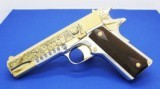 Colt 1911,deep engraved,refinished nickel with 24k gold accents,Mexican Heritage design,1 of a kind work of art !!