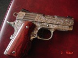 """Colt Defender 3"""",Engraved & polished by Flannery Engraving,custom Rosewood grips,45acp,certificate,awesome 1 of a kind work of art !!"""