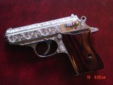 Walther PPK 380,fully deep hand engraved & polished by Flannery Engraving,custom Rosewood grips & originals,box & manual,2 mags,never fired,awesome !!