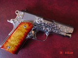 Colt Officers ACP,hand engraved,polished bright stainless,custom wood grips,white dot sites,45acp,3 1/2