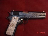 "Colt Government 1911 45ACP,master engraved & refinished in presentation blue & 24K gold by S.Leis,5"",Pearlite grips,certificate,awesome work of a"