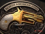 """North American Arms,Golden Eagle Ltd Edit. 24K gold plated,pearl grips,metal safe,22LR,1 1/8"""" barrel,manual,box,etc,5 shots,awesome rare revolver - 14 of 15"""