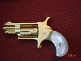 """North American Arms,Golden Eagle Ltd Edit. 24K gold plated,pearl grips,metal safe,22LR,1 1/8"""" barrel,manual,box,etc,5 shots,awesome rare revolver - 5 of 15"""