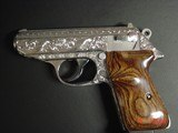 Walther/Interarms PPK/S 380,fully engraved & polished by Flannery engraving,2 sets of custom wood grips,2 mags,box,manual,certificate,a work of art !! - 13 of 15