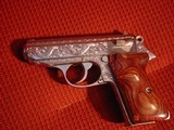 Walther/Interarms PPK/S 380,fully engraved & polished by Flannery engraving,2 sets of custom wood grips,2 mags,box,manual,certificate,a work of art !!