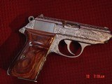 Walther/Interarms PPK/S 380,fully engraved & polished by Flannery engraving,2 sets of custom wood grips,2 mags,box,manual,certificate,a work of art !! - 4 of 15