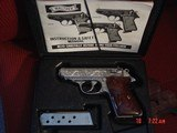 Walther/Interarms PPK/S 380,fully engraved & polished by Flannery engraving,2 sets of custom wood grips,2 mags,box,manual,certificate,a work of art !! - 6 of 15