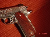 Dan Wesson 1911 Commander Bobtail 45acp,fully engraved & polished by Flannery Engraving,with certificate,wood grips,awesome 1 of a kind !! - 2 of 15