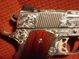 Dan Wesson 1911 Commander Bobtail 45acp,fully engraved & polished by Flannery Engraving,with certificate,wood grips,awesome 1 of a kind !! - 6 of 15