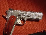 Dan Wesson 1911 Commander Bobtail 45acp,fully engraved & polished by Flannery Engraving,with certificate,wood grips,awesome 1 of a kind !! - 5 of 15