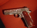 Dan Wesson 1911 Commander Bobtail 45acp,fully engraved & polished by Flannery Engraving,with certificate,wood grips,awesome 1 of a kind !!