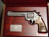"""Smith & Wesson 629,The Rising Eagle,deep relief engraved, #200 of 300, 6 1/2"""",44mag,carved wood grips,pres case-awesome engraving ! - 1 of 15"""