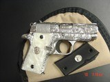 Colt Mustang Pocketlite 380,fully engraved & polished by Flannery Engraving,Pearlite grips,certificate,1 of a kind work of art !!