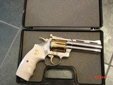 "Colt Diamondback 4"" 38sp,1978,just refinished in bright nickel with 24K accents,bonded ivory grips,awesome showpiece !!"