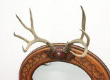 Unique Leather Covered Mirror with Antlers - 2 of 3