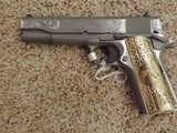 COLT ENGRAVED 1911 STAINLESS 38 SUPER - 1 of 9