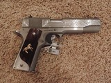 COLT 1911 BRUSHED STAINLESS 38 SUPER CUSTOM ENGRAVED - 1 of 6