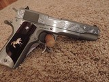 COLT 1911 BRUSHED STAINLESS 38 SUPER CUSTOM ENGRAVED - 4 of 6