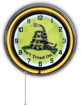 "Don't Tread On Me 18"" Yellow Double Neon Clock"
