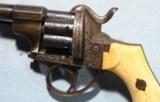 CIVIL WAR ERA ORNATELY ENGRAVED V. COLLETTE LEFAUCHEUX PATENT PINFIRE REVOLVER CA. 1860'S. - 5 of 10