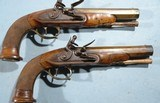 NAPOLEONIC WARS 1ST EMPIRE FRENCH FLINTLOCK BRASS BARREL OFFICER'S PISTOLS CIRCA 1811-15.