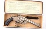 "SMITH & WESSON D.A. 3RD MODEL 5"" NICKEL REVOLVER W/ORIGINAL BOX CIRCA 1880'S."