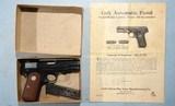 MINT WWII OR WW2 COLT U.S. PROPERTY GENERAL OFFICERS MODEL M 1908 .380ACP POCKET HAMMERLESS SEMI-AUTO PISTOL IN KRAFT BOX, CIRCA 1944.