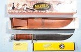 "VERY LARGE MARBLES 15"" TRAILMAKER BOWIE KNIFE WITH SHEATH NEW IN BOX (80702)."