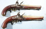 SUPERIOR PAIR GEORGE III FLINTLOCK BRASS BARREL MILITIA OFFICER'S PISTOLS BY GEO. E. JONES OF LONDON CA. 1800-10.