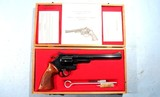 "CASED LIKE NEW SMITH & WESSON MODEL 25 OR 25-5 .45LC .45 COLT 8 3/8"" BLUE REVOLVER CIRCA 1980."