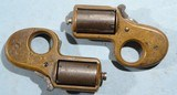 TRUE PAIR OF RARE REID'S MY FRIEND .32RF CAL. KNUCKLE DUSTER PEPPERBOX DERINGERS CA. 1860'S.