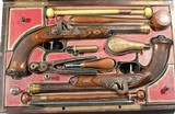 SUPERB CASED GOLD INLAID FRENCH CHARLES X PERCUSSION OFFICERS/DUELLING OR DUELING PISTOLS SIGNED LE PAGE A PARIS ARQUEBER DU ROI CIRCA 1827-30. - 1 of 16