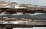 SUPERB CASED GOLD INLAID FRENCH CHARLES X PERCUSSION OFFICERS/DUELLING OR DUELING PISTOLS SIGNED LE PAGE A PARIS ARQUEBER DU ROI CIRCA 1827-30. - 3 of 16