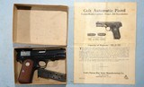 MINT WWII OR WW2 COLT U.S. PROPERTY GENERAL OFFICERS MODEL M 1908 .380ACP POCKET HAMMERLESS SEMI-AUTO PISTOL IN KRAFT BOX, CIRCA 1944. - 1 of 11