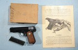 MINT WWII OR WW2 COLT U.S. PROPERTY GENERAL OFFICERS MODEL M 1908 .380ACP POCKET HAMMERLESS SEMI-AUTO PISTOL IN KRAFT BOX, CIRCA 1944. - 2 of 11