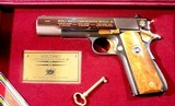 AUTO-ORDNANCE WW2 AMER. HISTORICAL ASSN. COMMEMORATIVE COLT 1911-A1 OR 1911A1 PISTOL CA. 1985 NIB IN DISPLAY CASE W/PAPERS.