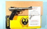 """RUGER MARK II TARGET 5 ½"""" STAINLESS 22LR CAL PISTOL NEW UNFIRED IN ORIG. BOX. CA. 1990'S."""
