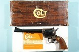 """COLT NEW FRONTIER 2ND GENERATION SINGLE ACTION ARMY 44 SPECIAL CAL. 7 ½"""" BLUE & CASE HARDENED REVOLVER CA. 1970 IN ORIG. BOX."""