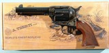 "UBERTI BY TAYLOR'S & CO. 1873 SAA SMOKE WAGON DELUXE .45 LONG COLT 4 3/4"" BLUE / CASE SINGLE ACTION NEW IN BOX REVOLVER."